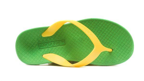 Archline Balance Orthotic Flip Flops Green-Gold - KIDS