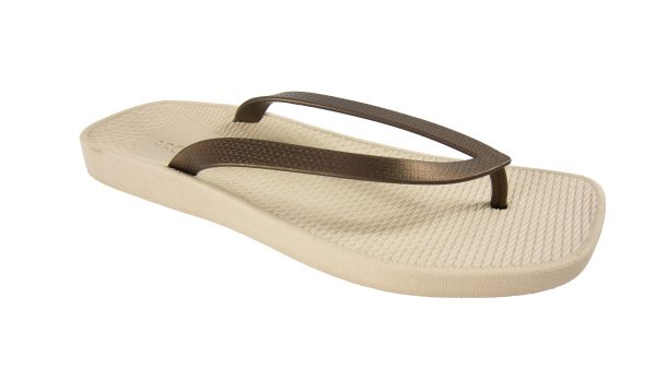Archline Breeze Orthotic Flip Flops Beige-Bronze