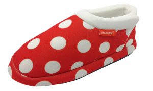 Archline Orthotic Slippers Closed Red Polkadots